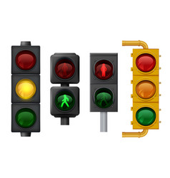 traffic lights realistic urban light objects vector image