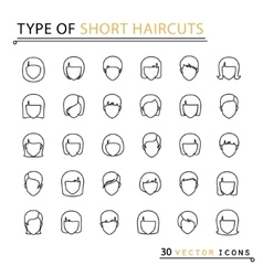 type of short haircuts vector image