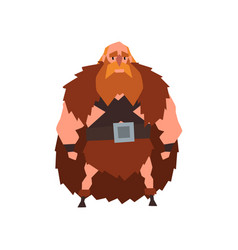 Viking warrior character in animal skin cape vector