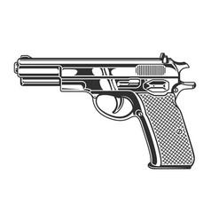 Vintage monochrome pistol concept vector