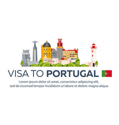 Visa to portugal document for travel flat vector