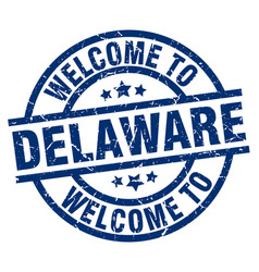 welcome to delaware blue stamp vector image
