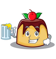 With juice pudding character cartoon style vector