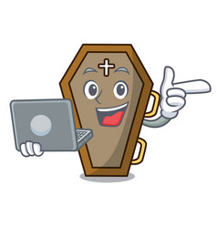 with laptop coffin character cartoon style vector image