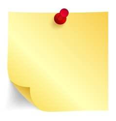 Yellow paper note with red pin vector