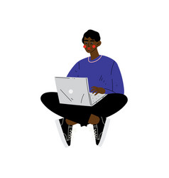 young african american man sitting on floor with vector image