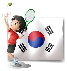 A tennis player in front of the South Korean flag vector image vector image