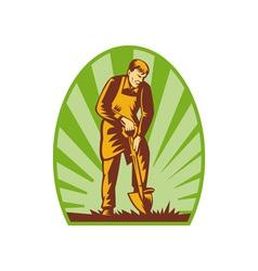 Gardener or farmer digging with shovel vector image vector image