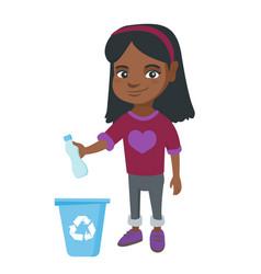 girl throwing plastic bottle in recycle bin vector image