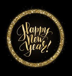 gold and black card with happy new year text and vector image vector image