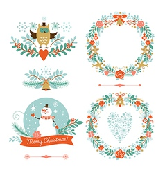 Set of Christmas wreaths frames holiday symbols vector image