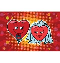 Wedding groom and bride valentine heart vector