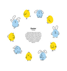 easter round frame with funny bunnies and chicks vector image