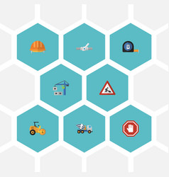 flat icons steamroller caution cement blender vector image vector image