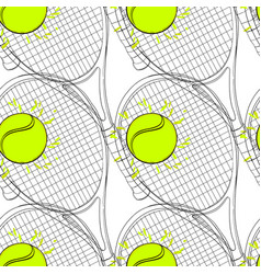 seamless pattern with tennis rackets ball hand vector image
