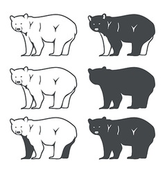 Set of Six Bear Silhouette vector image