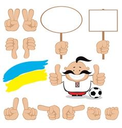 ukrainian fan gesture set vector image