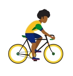 black man ride by road bicycle Cycling sport vector image