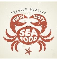 cartoon crab Seafood menu vector image vector image