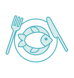cutlery kitchen with fish vector image