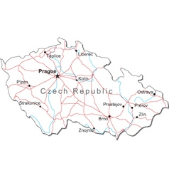 Czech Republic Black White Map vector image vector image