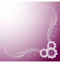 Delicate corner frame with mallow flowers vector image vector image