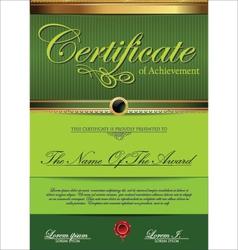 Green Certificate template vector image