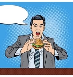 Pop Art Business Man Eating Tasty Burger at Work vector image vector image