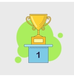 Winner cup on the pedestal icon Golden vector image