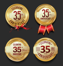 anniversary retro golden labels collection 35 vector image