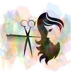 beauty salon and hairdresser silhouette vector image vector image