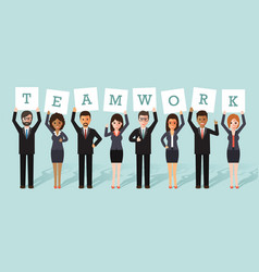 businessman and businesswoman teamwork vector image