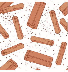 hand drawn seamless pattern with cinnamon sticks vector image vector image