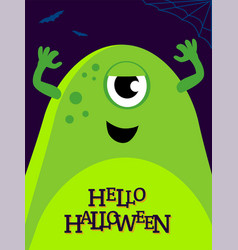 helloween with funny monster vector image