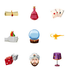 magician icons set cartoon style vector image vector image