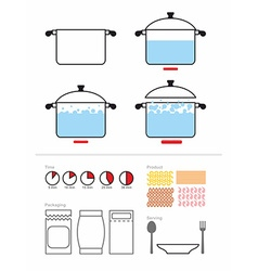 Manual cooking in a saucepan Set to manual on vector image