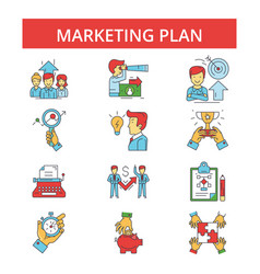 marketing plan thin line icons vector image vector image