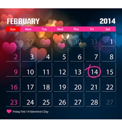 Valentine Day Calendar 2014 vector image vector image