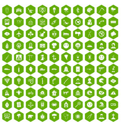 100 phobias icons hexagon green vector