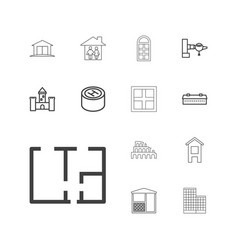 13 architecture icons vector