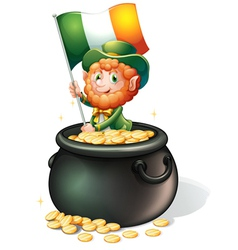 A man inside a pot of gold holding a flag vector image