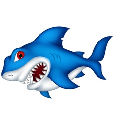 Angry shark cartoon vector
