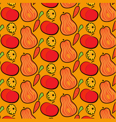 autumn pattern with pumpkins apples and carrots vector image