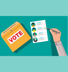 Ballot box paper with candidates vector