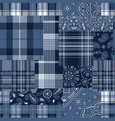 bandana motifs and tartan plaid fabric patchwork vector image