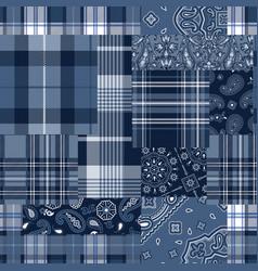 Bandana motifs and tartan plaid fabric patchwork vector