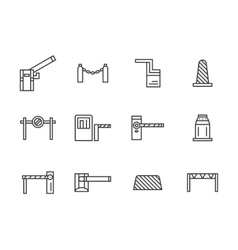 Barriers black line icons set vector image