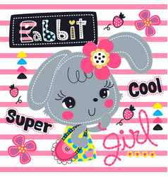 Beautiful rabbit girl wearing pink flower headband vector