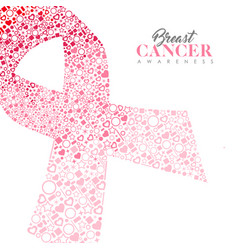 breast cancer care card of pink ribbon icon shape vector image