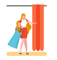 Buyer in fitting room flat vector